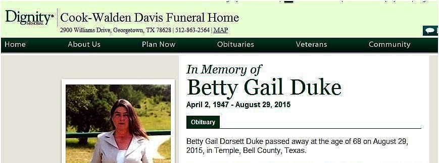 Betty Gail Duke obituary