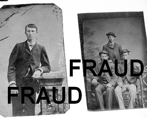 Fraudulent pictures of Jesse James and Jesse James with the Younger brothers