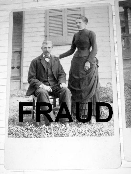 Fraudulent image of Frank James and Annie Ralston