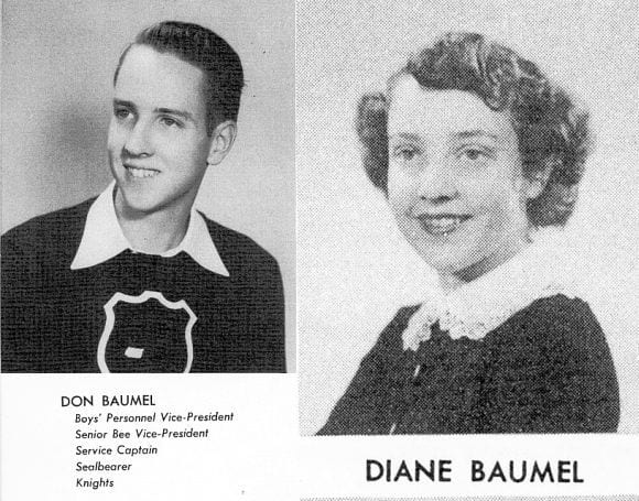 class photos of Don and Diane Baumel
