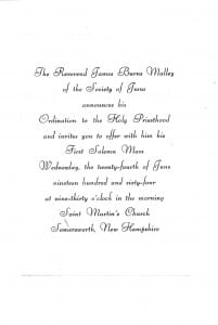 ordination invitation for James Burns Malley