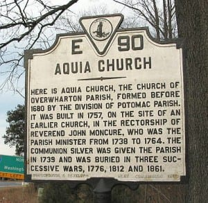 Aquia Church Historical Marker