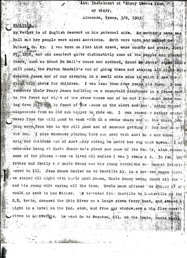The Stray Leaves diary of John James of Alvarado, Texas, page 1