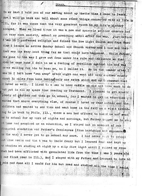 The Stray Leaves diary of John James of Alvarado, Texas, page 3
