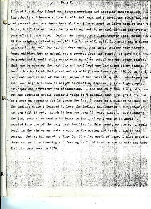 The Stray Leaves diary of John James of Alvarado, Texas, page 4