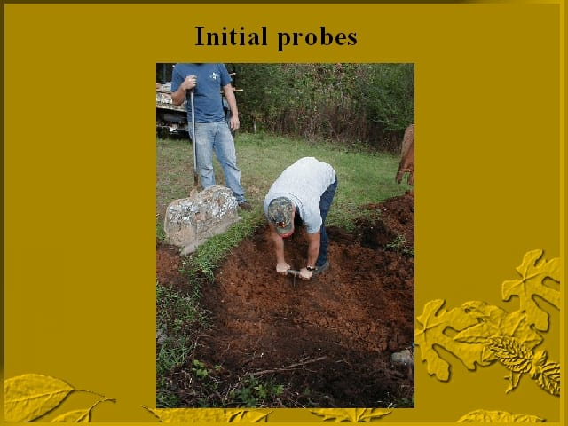 First problem in the excavation of Jesse James' twins