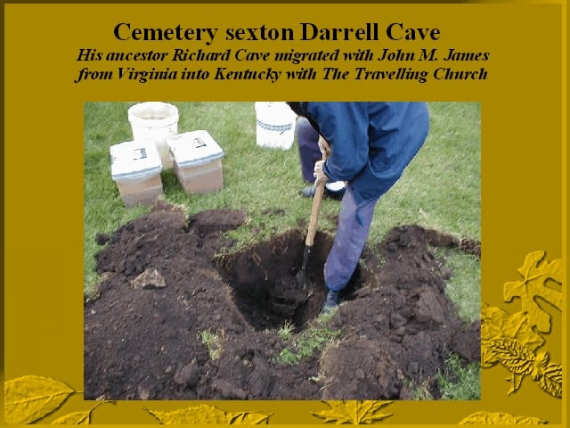 Cemetery sextant Darrell Cave supervises reburial for Mt. Olivet Cemetery.