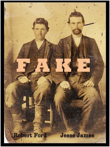 Claimed photo of Bob Ford and Jesse James is proved as a hoax.