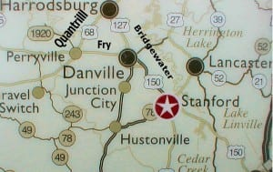 Route of the chase. Harrodsburg at the top. Stanford on lower right. Danville at center. Perryville on the left.