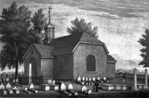Olde Swede's Chruch, engraving by John Sartain