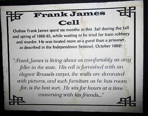 Frank James Cell Plaque