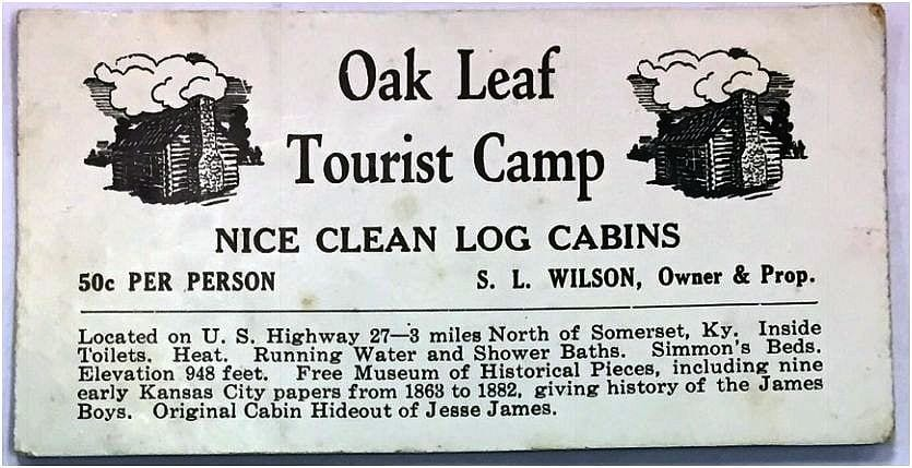 Oak Leaf Tourist Camp-Business Card