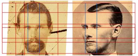 Linear forensics applied to authentic image of Jesse James with a claimed image