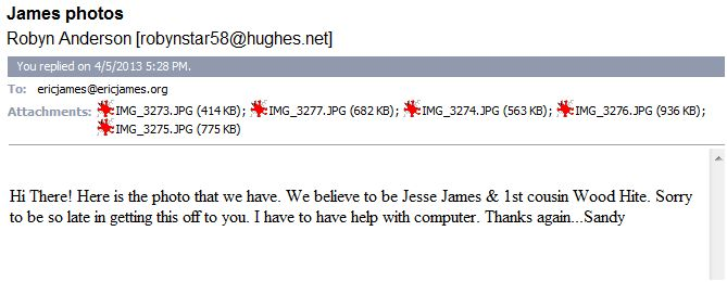 Email-Mills to James with photo