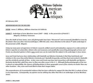Red flag of ambiguous Williams Galleries Affidavit