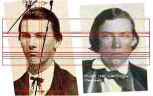 Forensic science compares authentic Jesse James image with a claimed one