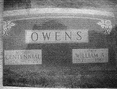 Tombstone of William Andrew Owens & spoouse Centenial Adkins. Spangler Cemetery: Decatur, Macon Co. IL.