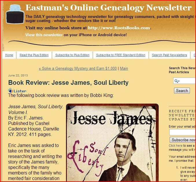 screenshot of book review