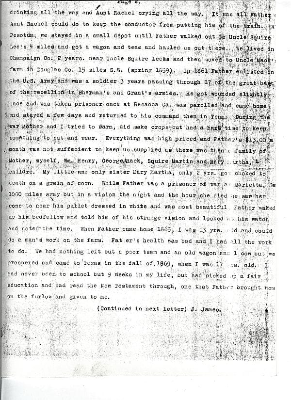 The Stray Leaves diary of John James of Alvarado, page 2