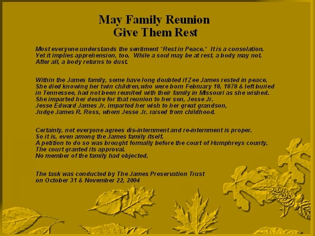 Story of the exhumation of Jesse James twin children