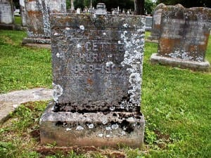 Tombstone of Cettie Miller 1848-1907, first cousin of Clell Miller of the James Gang. Bellvue Cemetery, Danville, Kentucky