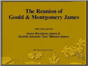 Title slide from the Reunion of Gould & Montgomery James slide presentation