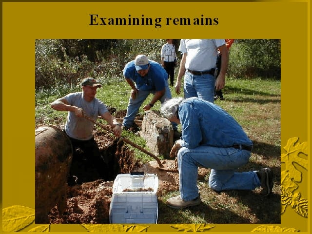 Examining remains of Jesse James' twins