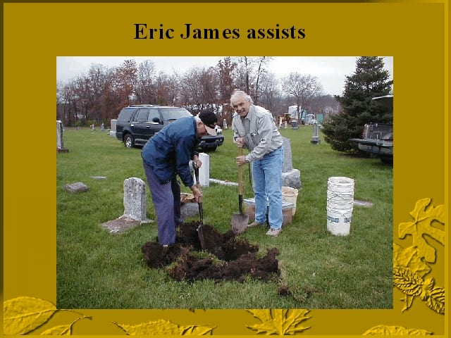 Eric F. James assists in the reburial of Jesse James' twins