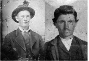 Actual image of Robert WoodsonHite (L)fromthe James Preservation Trust, compared to the claimedWootHite (R). WootHite is a James descendant. His motheris Nancy Gardner James, an aunt of Jesse Woodson James. WootHite displaysthe same genetic physical