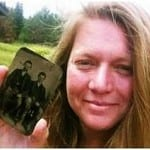Sandy Mills, holding the tintype she claims is Bob Ford & Jesse James