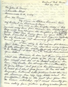 Letter of Thelma Duncan Barr to Joan Beamis, Oct. 26-27, 1970, page 1