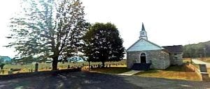 Flat Lick Baptist Church, founded by John M. James, grandfather of John Oliver James