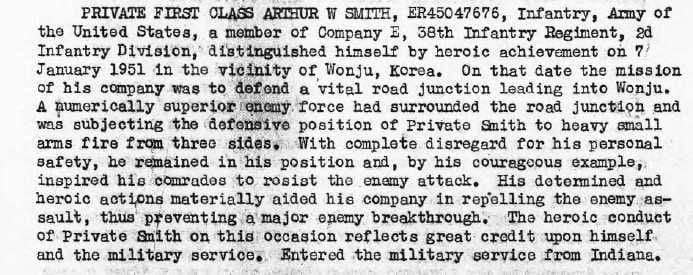 Army record for Arthur William Smith