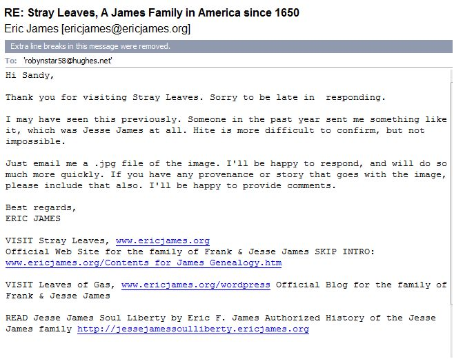 Eric F. James email to Sandy Mills