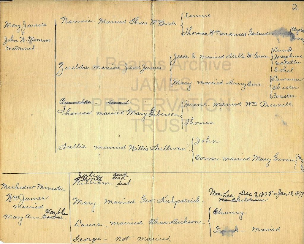 Jesse James family tree-pg 2