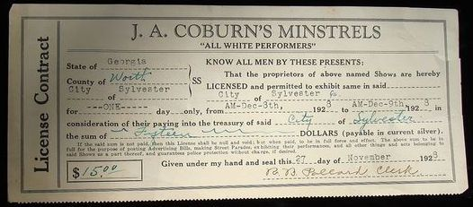 J.A. Coburn's Minstrels license contract