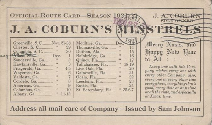 J.A. Coburn's Minstrels postcard advertisement showing touring season